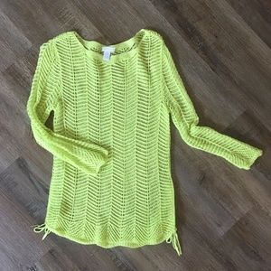 Chico's Chartreuse Knit Sweater with Tie Sides Top
